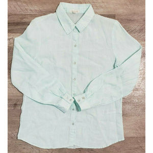 Eileen Fisher Womens Blue Linen Blouse Size Small